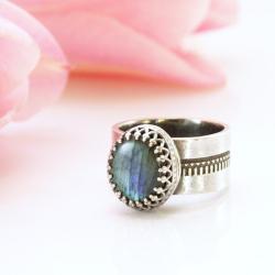 srebrny pierścionek,szeroki pierścionek, - Pierścionki - Biżuteria