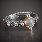 Pierścionki srebrno-złoty pierścionek różaniec z diamentem