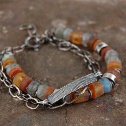 bransoleta ze srebra,labradorytów,bursztynów - Bransoletki - Biżuteria