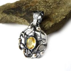 cytryn,blask,królewski,srebrny,retro,złocisty,styl - Wisiory - Biżuteria
