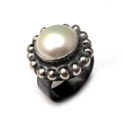 perła,blask,retro,dama,romantyczny,srebrny,babciny - Pierścionki - Biżuteria