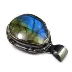 labradoryt,srebrny,blask,surowy,tęczowy,cobalt, - Wisiory - Biżuteria