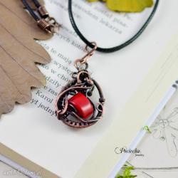 naszyjnik,wisior,miedź,wire wrapping,koral,retro - Naszyjniki - Biżuteria