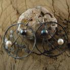 Kolczyki perły,drzewo,gałęzie,surowe,yin yang