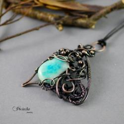 naszyjnik,wisior,miedź,wire wrapping,klasyka - Naszyjniki - Biżuteria