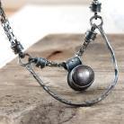 Naszyjniki srebrny naszyjnik z szafirem