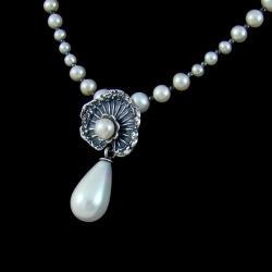 naszyjnik z perłami,klasyczny,delikatny,liść - Naszyjniki - Biżuteria