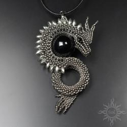 smok,baśniowy,srebrny,gra o tron,fantasy,onyks - Wisiory - Biżuteria