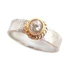 Pierścionki pierścionek srebrno złoty z diamentem