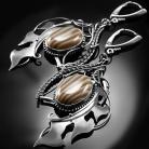 Kolczyki srebrn,kolczyki,wire-wrapping,krzemień,pasiasty