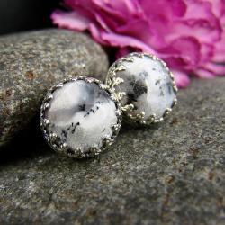 srebro,agat,kolczyki,sztyfty,dendrytowy - Kolczyki - Biżuteria