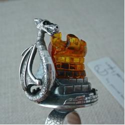 pierscionek,bursztyn,srebro,wieza,smok,fantasy - Pierścionki - Biżuteria