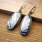 Kolczyki Kolczyki z agatem dendrytowym,srebrne kolczyki
