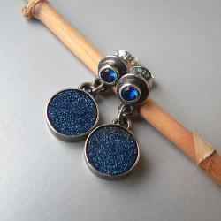 agat druzy,na sztyftach,szafiry - Kolczyki - Biżuteria