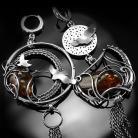 Kolczyki srebrne,kolczyki,wire-wrapping,asymetryczne,orzeł