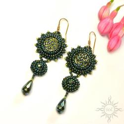 zielone,misterne,długie,hematyt,wieczorowe,druza - Kolczyki - Biżuteria