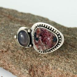 rubin,surowy,asymetria,kwarc - Pierścionki - Biżuteria