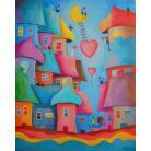 Obrazy walentynki,bajka,miasteczko,koty,serca