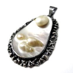 perła,unikat,secesyjny,perłowy,blask,duży,srebrny - Wisiory - Biżuteria