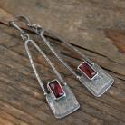 Kolczyki srebrne kolczyki z granatami