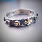 Pierścionki srebrno-złoty pierścionek różaniec,cytrynowy