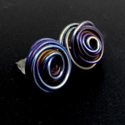 tytanowe,lekkie,blask,błękit,tytan,kwiat,lato - Kolczyki - Biżuteria