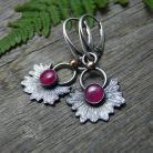 Kolczyki srebrne,rubinowe,rubiny,srebrny liść,natura