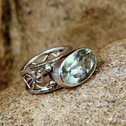 srebrny pierścionek z fasetowanym ametystem - Pierścionki - Biżuteria