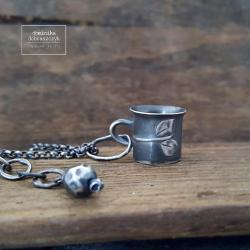srebro,kubek,kawa,liść - Naszyjniki - Biżuteria