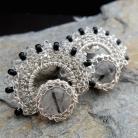 Kolczyki koronkowe kolczyki z kwarcem i turmalinem