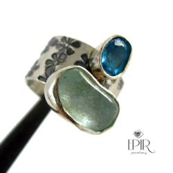 Pierścionek srebrny z topazami - Pierścionki - Biżuteria