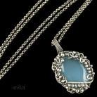 Wisiory chalcedon,wisior z chalcedone,niebieski wisior