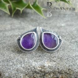 fioletowe,ametyst,wkrętki - Kolczyki - Biżuteria