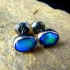 Kolczyki opale,blask,niebieskie,srebrne,delikatne,granat