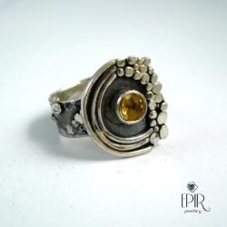 Pierścionek srebrny z cytrynem - Pierścionki - Biżuteria