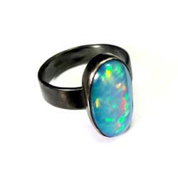 opal,blask,tęcza,srebrny,rajski,błękit,retro,blue - Pierścionki - Biżuteria