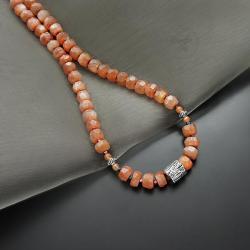 srebrny,naszyjnik,z kamieniem słonecznym - Naszyjniki - Biżuteria