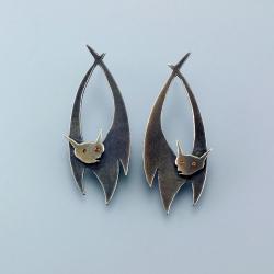 nietoperze,unikat,Marina Noske,prosta forma - Kolczyki - Biżuteria
