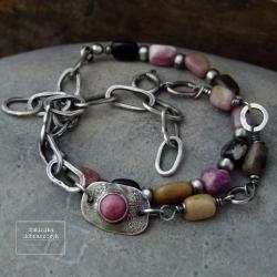 srebro,turmalin,łańcuch,surowa,oksydowana,komplet - Bransoletki - Biżuteria
