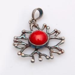 wisiorek,oksydowany,srebrny,koral - Wisiory - Biżuteria