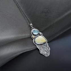 srebrny,naszyjnik,zbursztynem,z opalem - Naszyjniki - Biżuteria