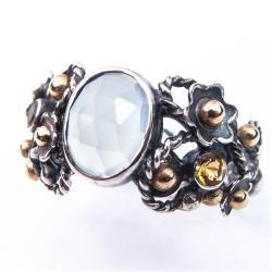 srebrny pierścionek,srebrno-złoty pierścionek - Pierścionki - Biżuteria