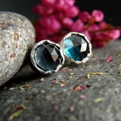 srebro,kolczyki,sztyfty,topaz,london blue - Kolczyki - Biżuteria