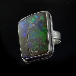 ammolit,blask,unikat,surowa,srebro,kolor - Pierścionki - Biżuteria