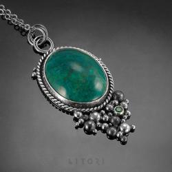 srebrny naszyjnik,labradoryt,litori,handmade - Naszyjniki - Biżuteria