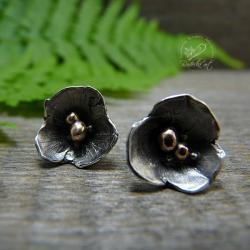 srebrne,sztyfty,kwiatki,minimalistyczne - Kolczyki - Biżuteria