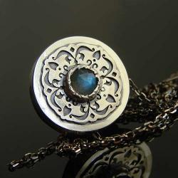 srebro,labradoryt,naszyjnik,orient - Naszyjniki - Biżuteria