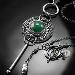 srebrny,naszyjnik,wire-wrapping,awenturyn,zielony - Naszyjniki - Biżuteria