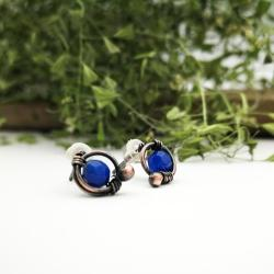 kolczyki,sztyfty,niebieskie kolczyki,minimalizm - Kolczyki - Biżuteria