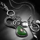 Naszyjniki srebrny,naszyjnik,wire-wrapping,zoisyt,rubin,ciba